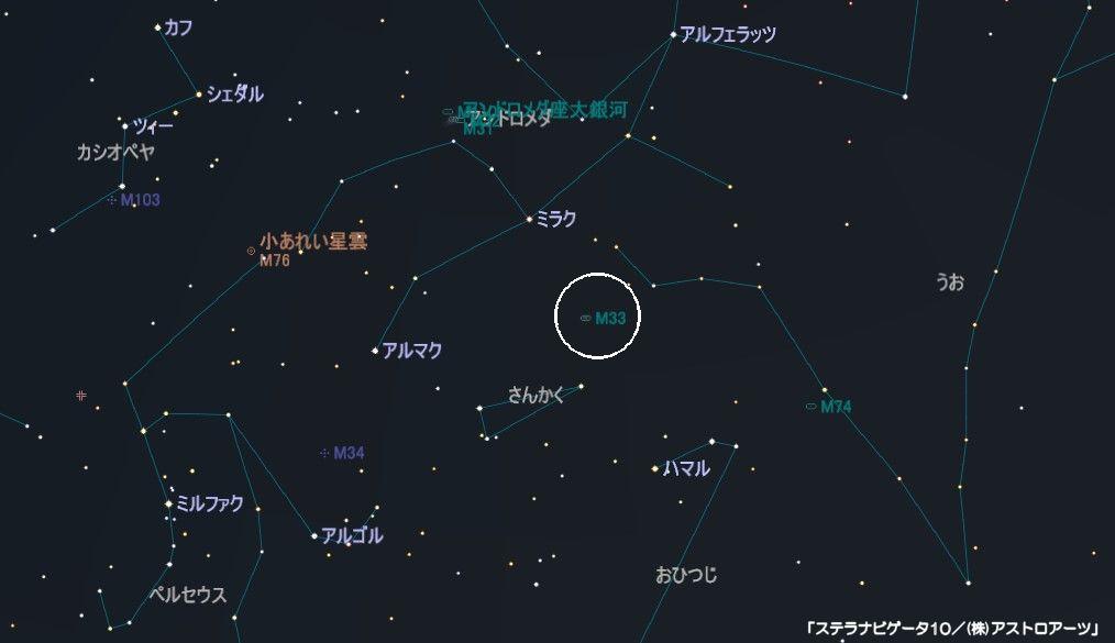さんかく座のメシエ天体はM33のさんかく座銀河です。