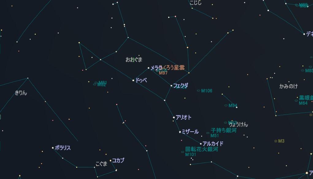 おおぐま座のメシエ天体はM81とM82(葉巻銀河)の2つの銀河を1フレームにでき、更にm97(ふくろう星雲)とM108の銀河も1フレームにできます。M101(回転花火銀河)とM109(銀河)もあります。